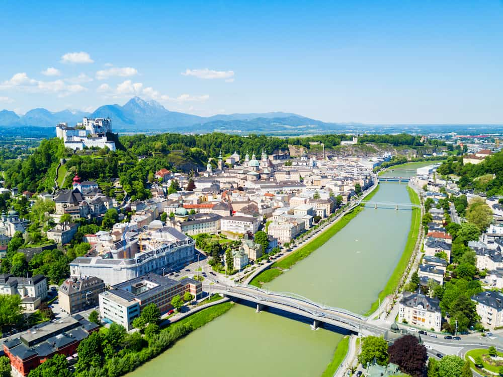 Salzburg city centre and Salzach river aerial panoramic view, Austria. Salzburg literally Salt Fortress or Salt Castle is the fourth largest city in Austria.
