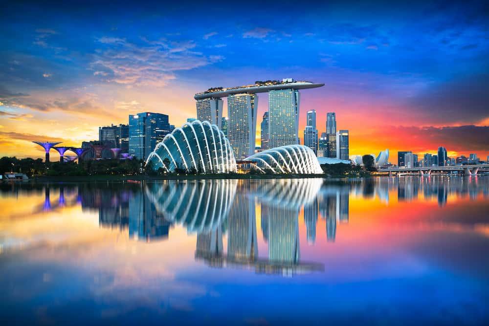 Singapore city skyline at night, Singapore city skyline