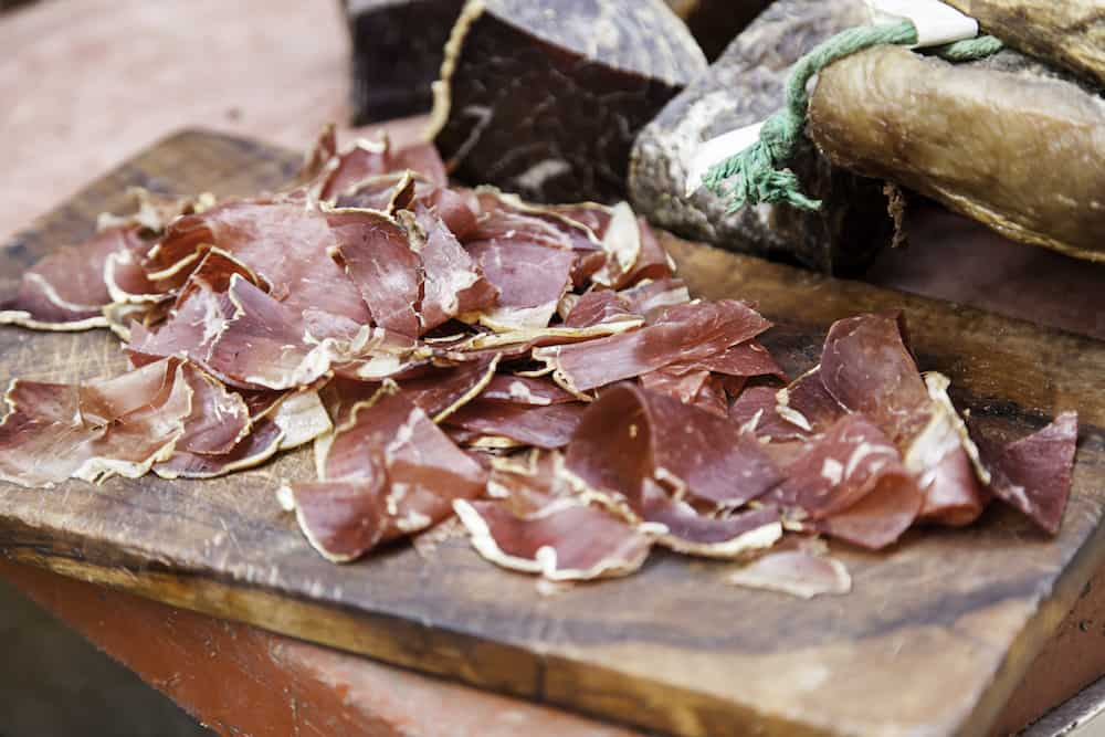 Cecina detail of cured meat typical of Spain dry food and room