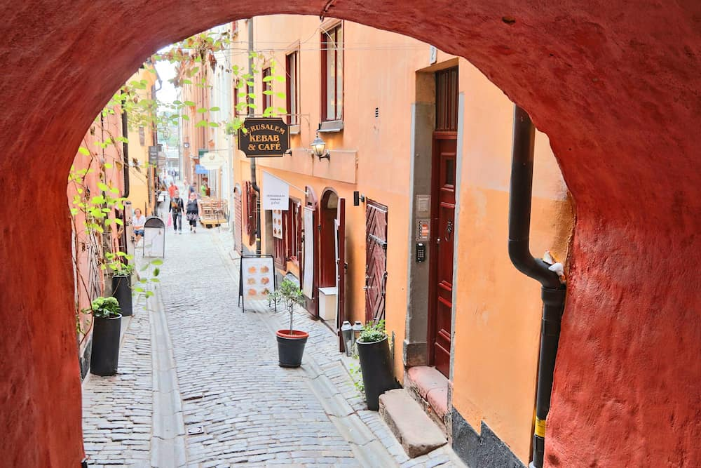 STOCKHOLM, SWEDEN - Gamla Stan (Old Town) in Stockholm, Sweden. Stockholm is the capital city and most populous area in Sweden.