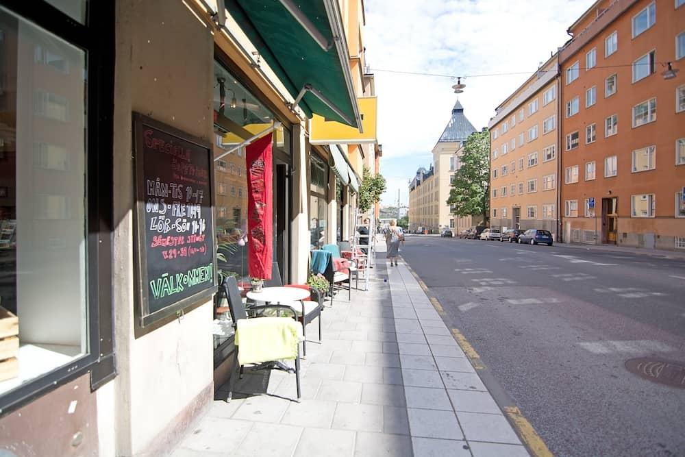 STOCKHOLM, SWEDEN - Outdoor cafe in Sodermalm in Stockholm, Sweden.