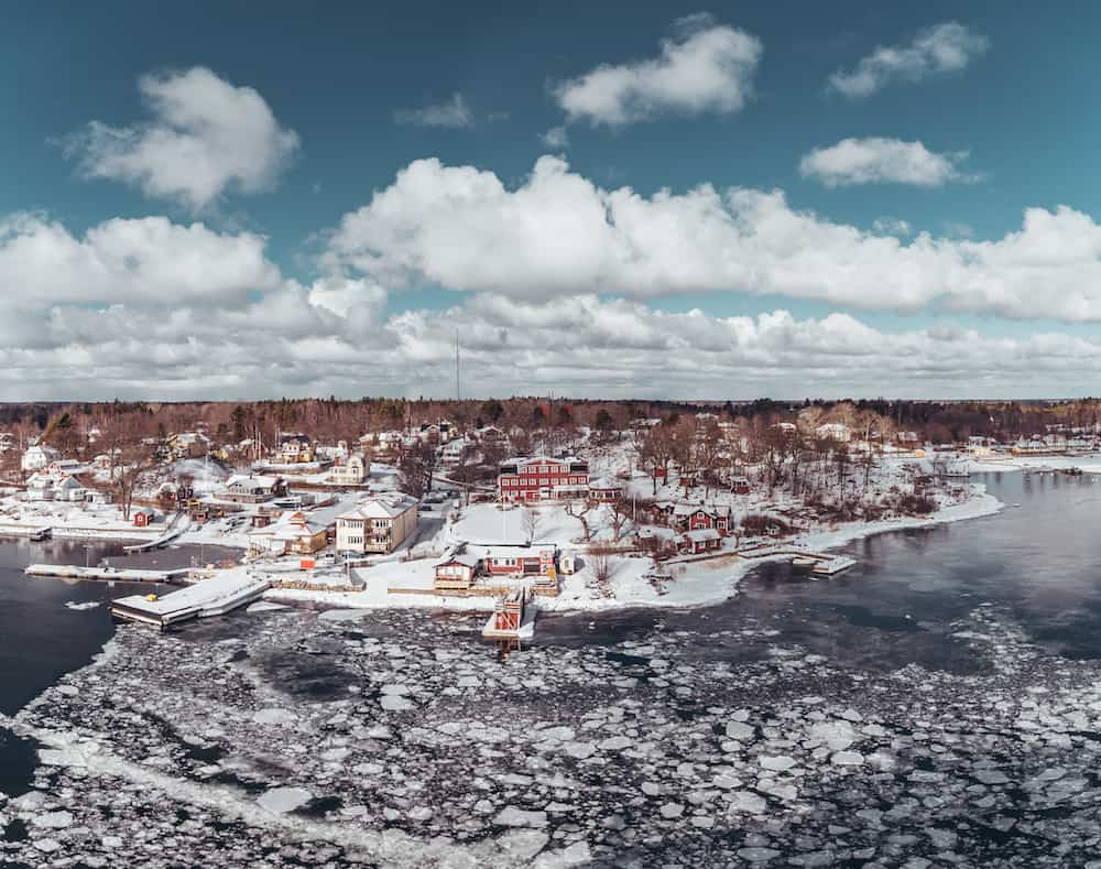 Small village in the Stockholm Archipelago on a winter day
