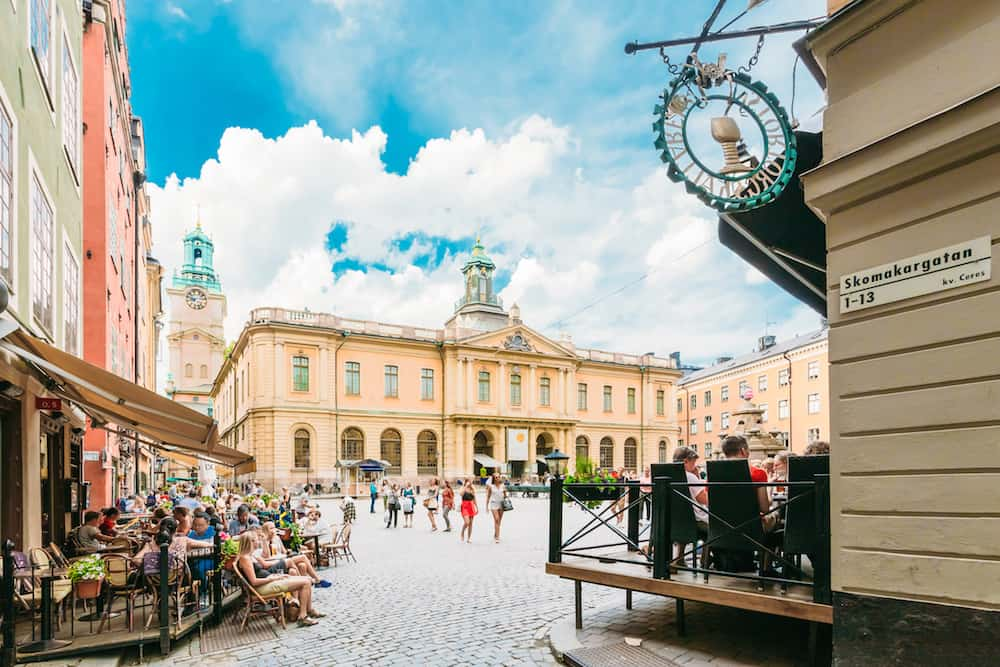 Stockholm, Sweden - Swedish Academy And Nobel Museum On Stortorget Square In Old City - Gamla Stan, The Oldest Square In Stockholm