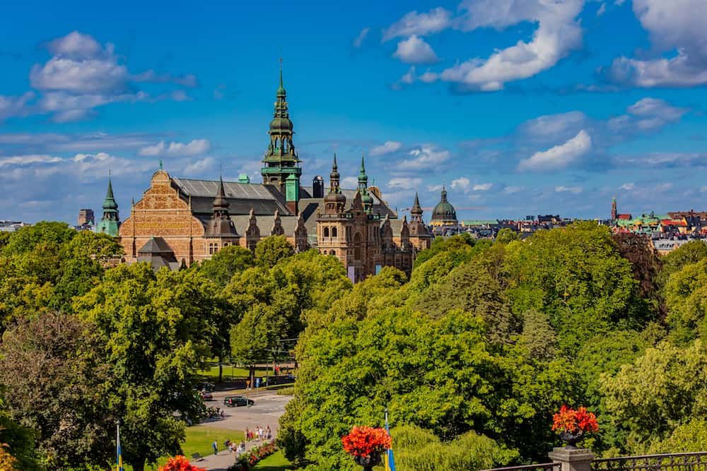 View onto the intricate architecture of the Nordic Museum or Nordiska museet, located on Djurgarden island in Stockholm, Sweeden