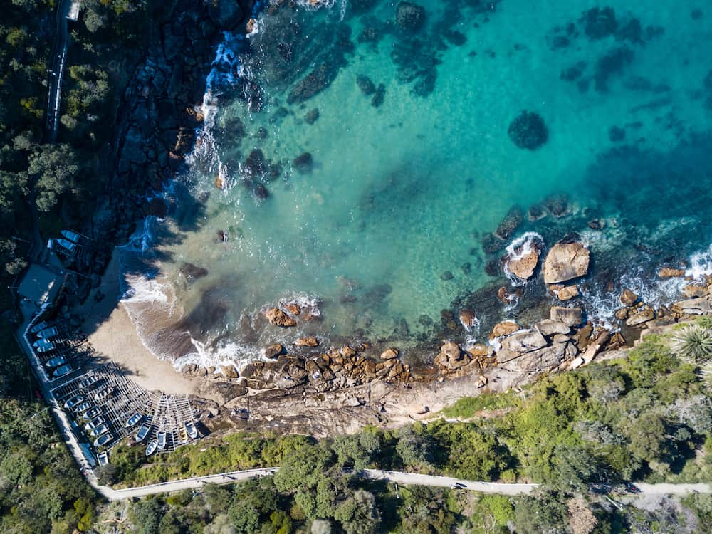 Aerial view of Gordons Bay near Coogee. Coogee is a beach side suburb of Sydney in the state of New South Wales Australia.