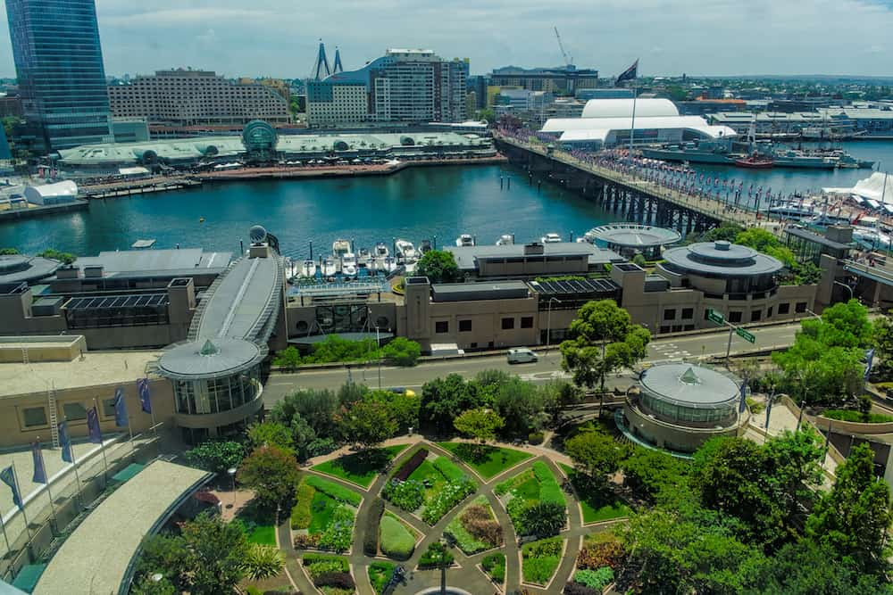Darling Harbour Sydney Australia . Darling Harbour is a harbour adjacent to the city centre of Sydney, New South Wales, Australia.