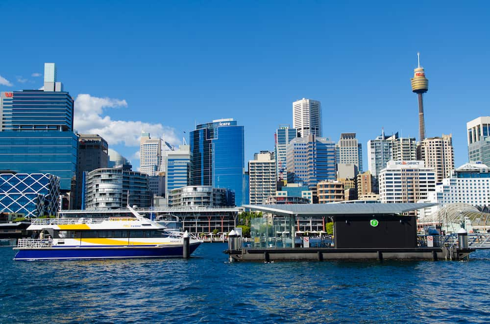 SYDNEY - View of Sydney from Darling Harbour. Darling Harbour the city centre of Sydney is an area of entertainment facilities and a pedestrian walkway. Sydney Australia.