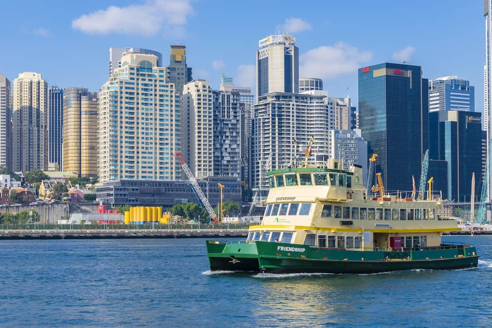 Sydney, Australia - Ferry at Darling Harbour in Sydney. It is a popular travel destination adjacent to city centre of Sydney.