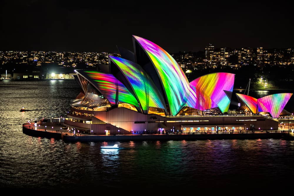 Sydney, Australia - Sydney Opera House illuminated with beautiful vibrant images, bold colours during the annual Vivid Sydney celebrations