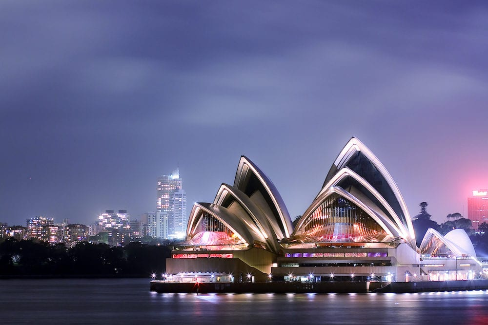 Sydney Opera House lit up with graphic designs by New York artist Laurie Anderson, during the Sydney Vivid Festival. Photo taken: Sydney, Australia.