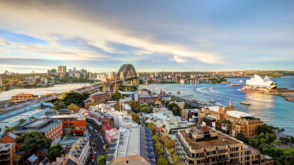 SYDNEY, AUSTRALIA, - - Sydney harbour bridge and opera house. Iconic and world famous landmarks of Australia
