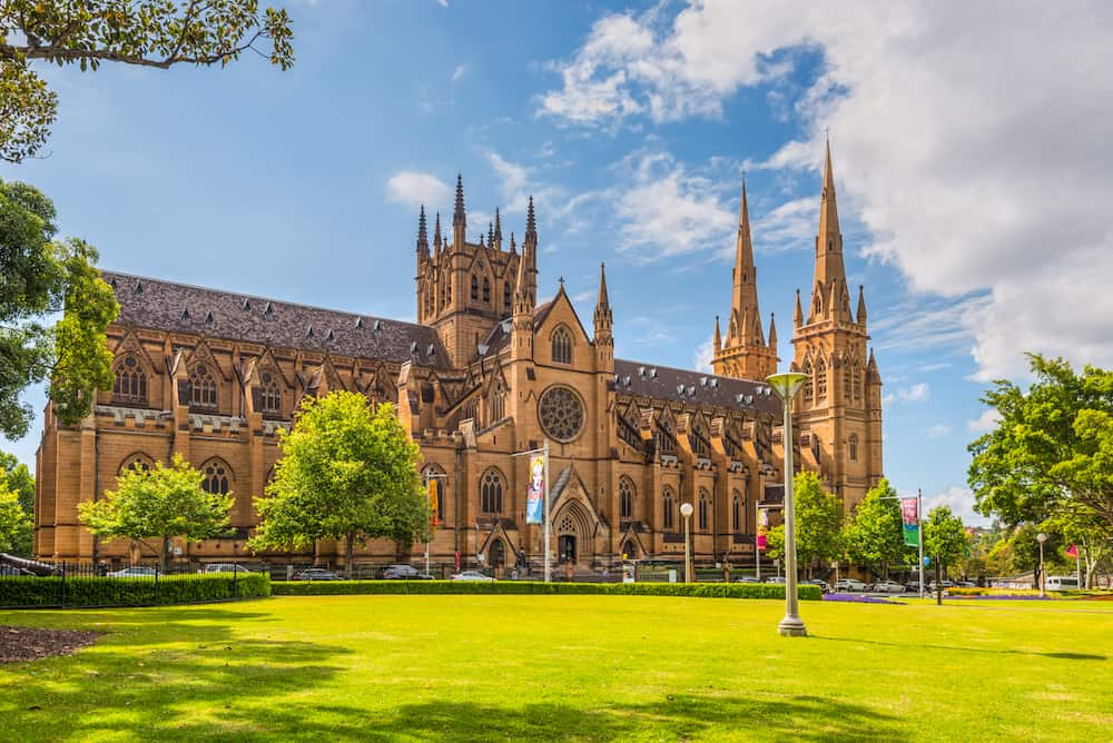 Sydney Australia -  View of the St Mary's Cathedral in a nice sunny day Sydney. The Metropolitan Cathedral of St Mary is the cathedral church of the Roman Catholic Archdiocese of Sydney and the seat of the Archbishop of Sydney.