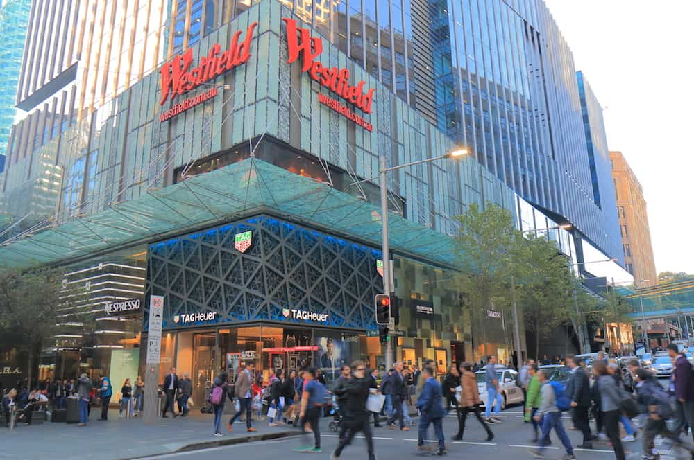 SYDNEY AUSTRALIA - : Unidentified people visit Westfield department store. Westfield is an Australian shopping centre company founded in 1960.