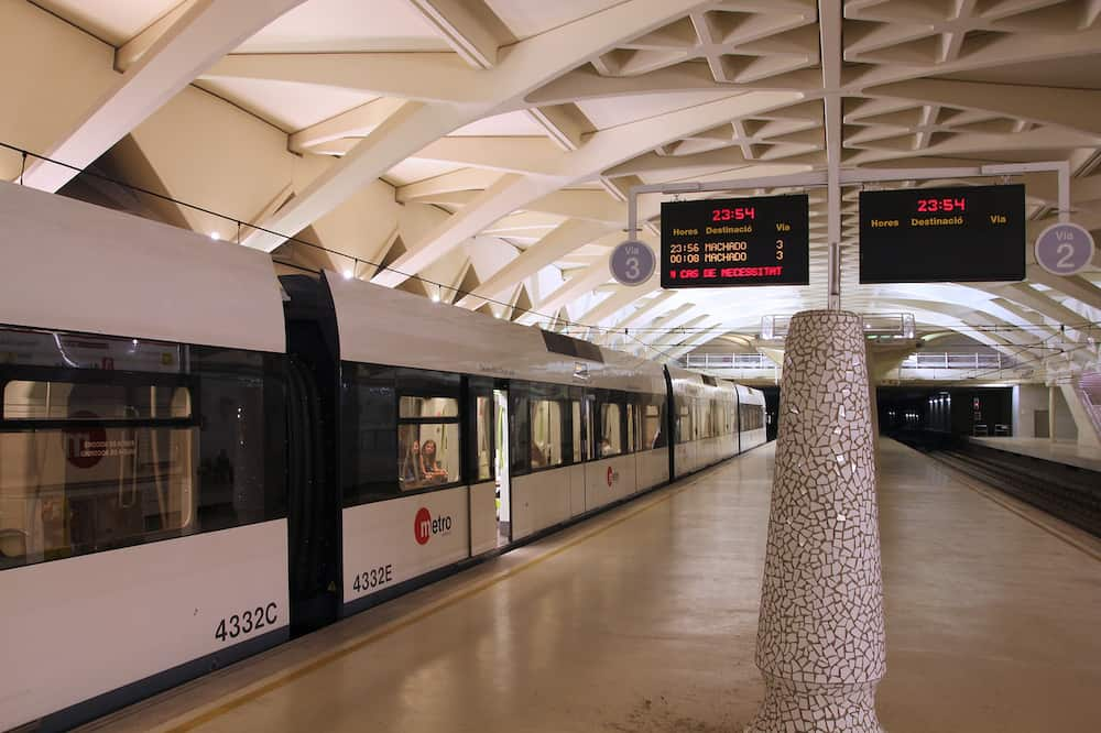VALENCIA SPAIN - Metro train in Valencia Spain. With 175km total network length Metrovalencia is 15th longest subway system worldwide.