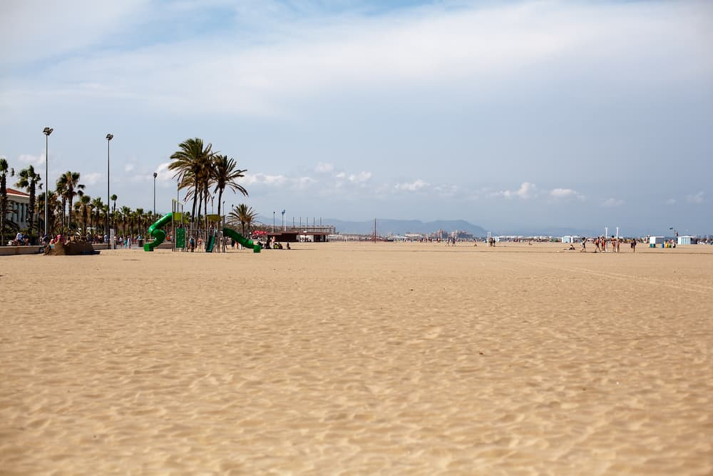Sea front on Malvarrosa beach in the city of Valencia, Spain