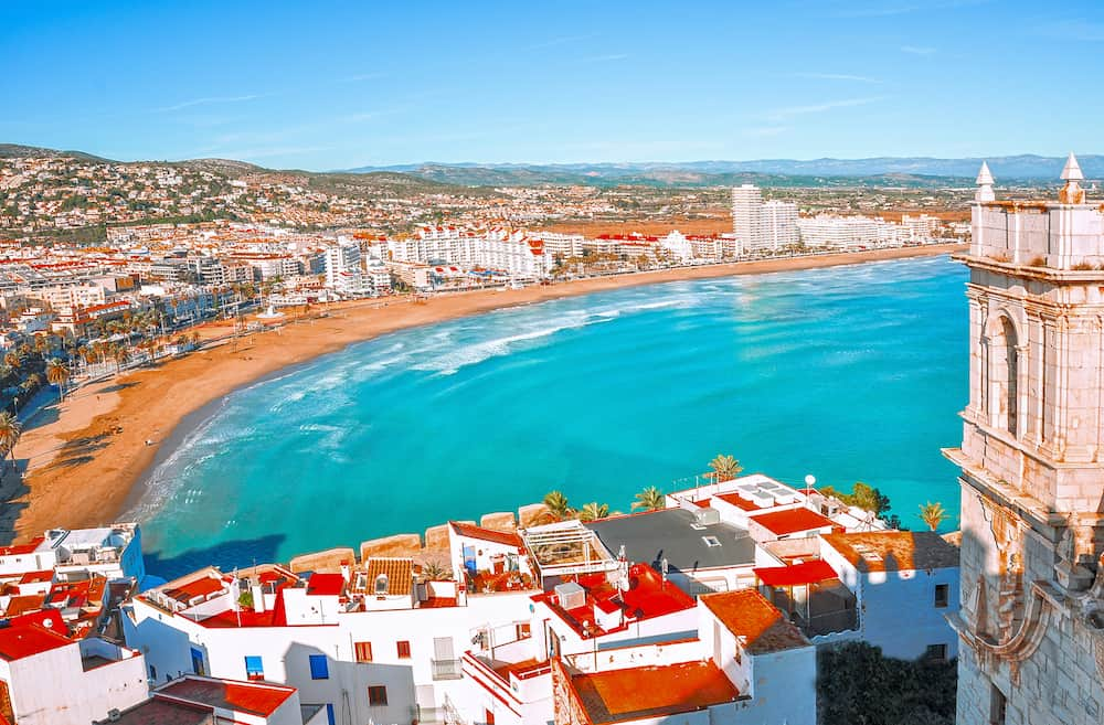 View of the sea from a height of Pope Luna's Castle. Valencia, Spain. Peniscola. Castelln. The medieval castle of the Knights Templar on the beach. Beautiful view of the sea and the bay.