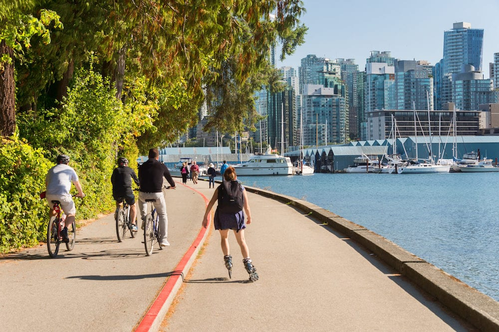 Vancouver British Columbia Canada - Stanley Park and Vancouver Skyline in summer