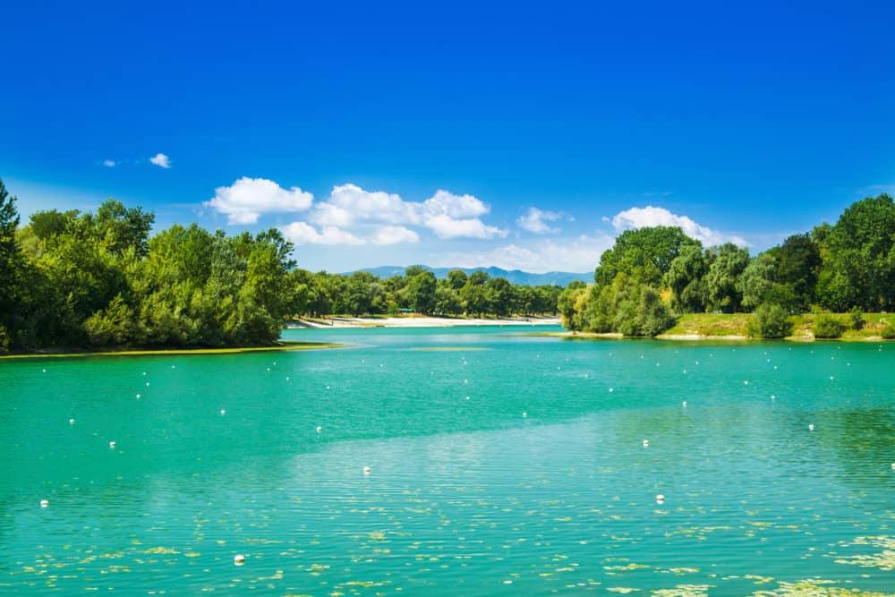 Zagreb, Croatia, Jarun lake, beautiful green bay, sunny summer day