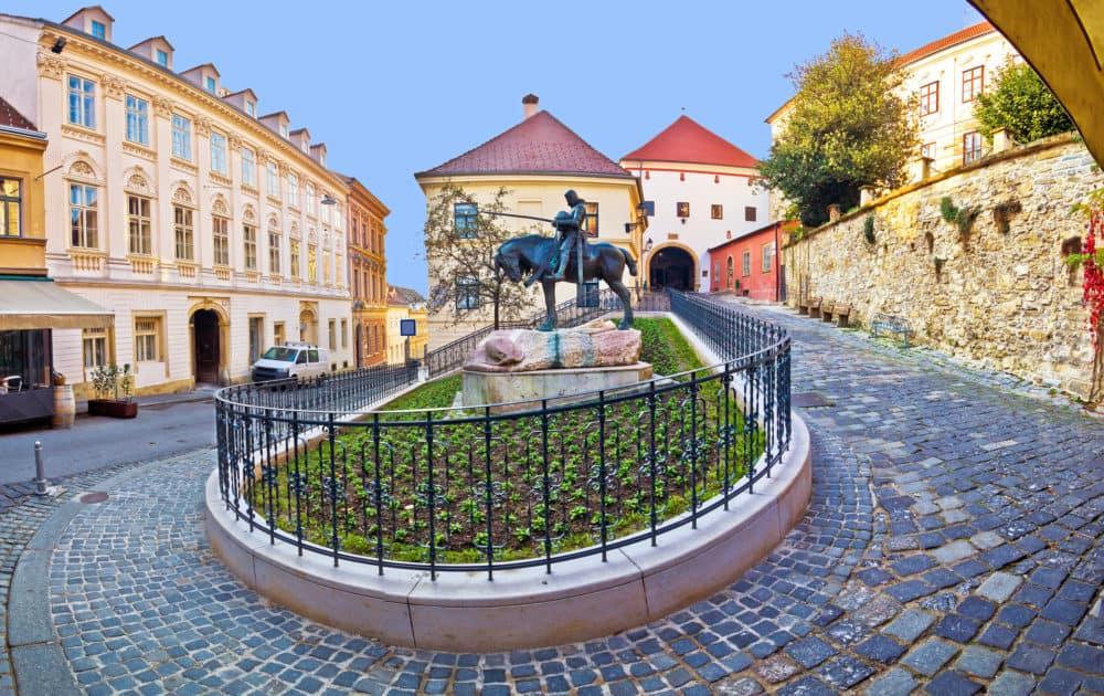 Historic Zagreb street and Stone gate capital of Croatia