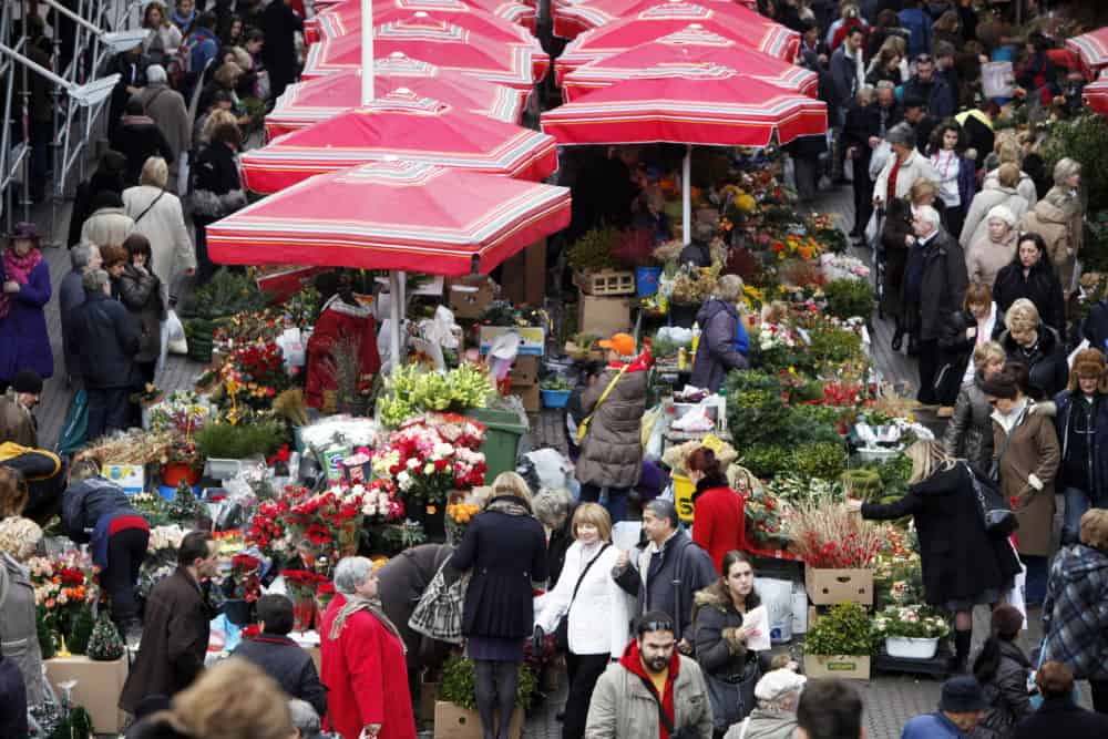ZAGREB, CROATIA - Unidentified people sell flowers at Dolac Market in Zagreb, Croatia. Dolac is the largest farmer's market in Zagreb.