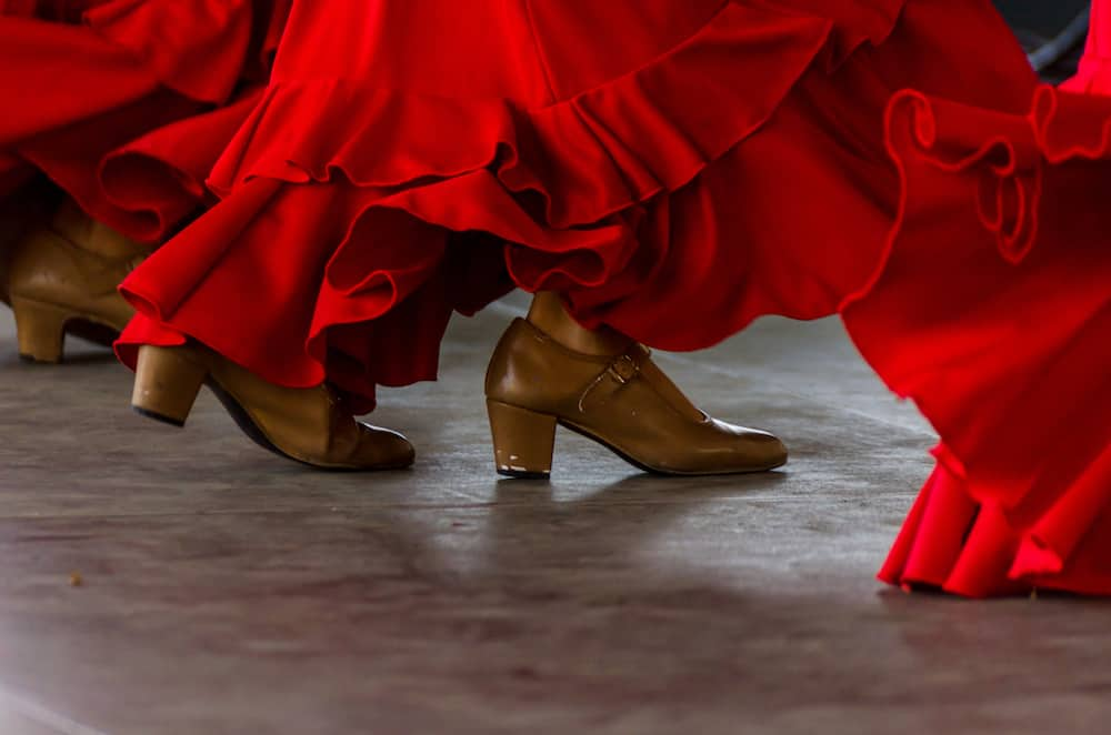 closeup of a typical shoes to the traditional Spanish flamenco dance shoes, leather high heels, part of the costume