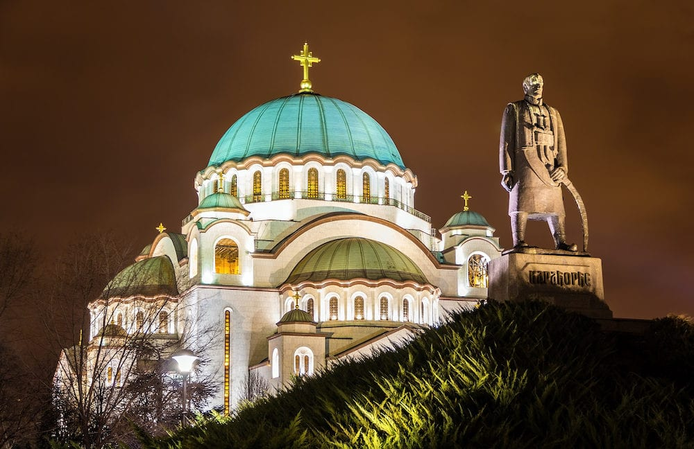 Karadjordje Monument and the Church of Saint Sava in Belgrade Serbia
