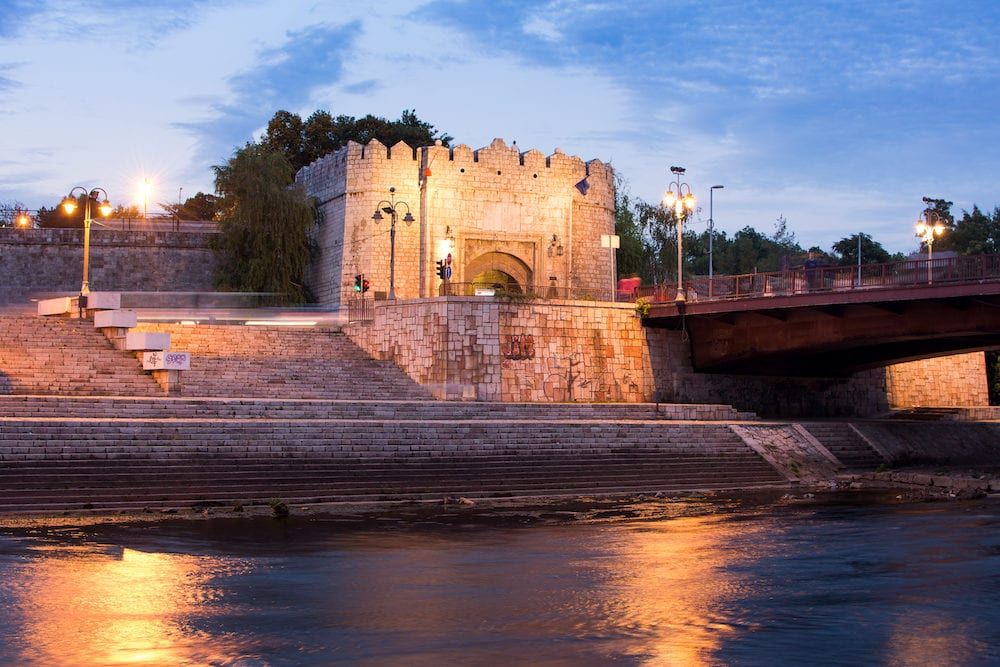 NIS SERBIA - : Nis fortress entrance across the bridge on Nisava river at blue hour. Nis is the third largest city of Serbia Europe
