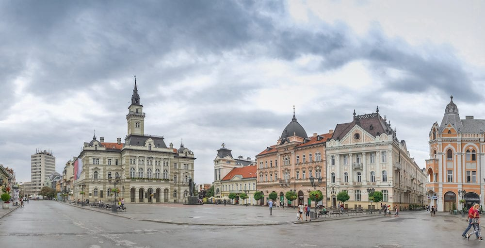 Novi Sad, Serbia - . Panoramic View of the main square in Novi Sad, Serbia in a cloudy summer day
