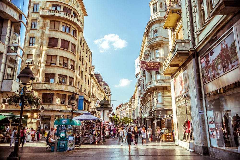 BELGRADE SERBIA - Knez Mihailova Street in Belgrade Serbia. Street is the main shopping mile of Belgrade.
