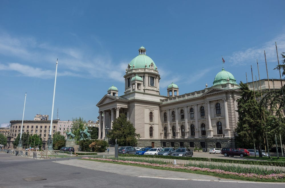 Belgrade, Serbia - The House of the National Assembly of Serbia is located on Nikola Pasic Square