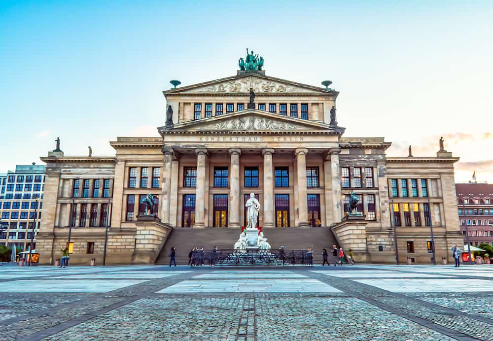 "Berlin, Concert Hall in Berlin - erected in 1818-1821 years. designed by Karl Friedrich Schinkel as ""Konzerthaus Berlin"". Neoclassical building in central Berlin on Gendarmenmarkt."