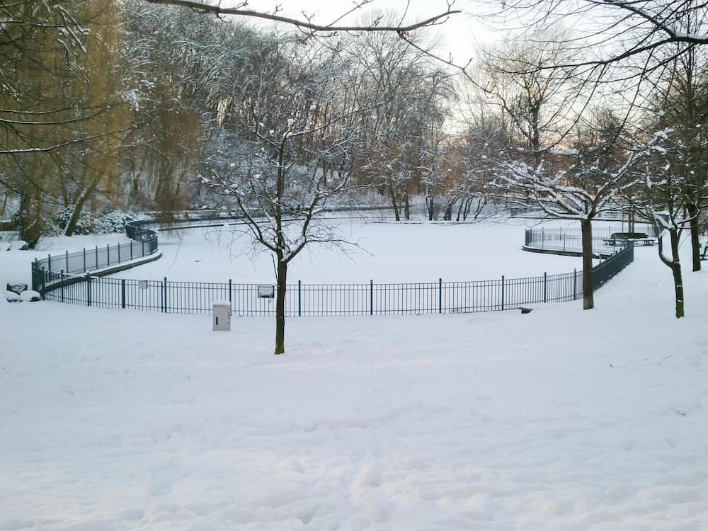 Frozen pond in Volkspark Friedrichshain Berlin Germany