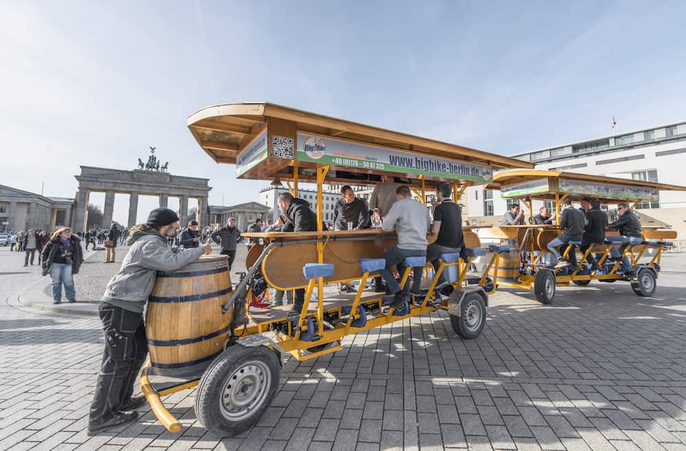 Berlin, Germany - fun beer vehicle at the city streets
