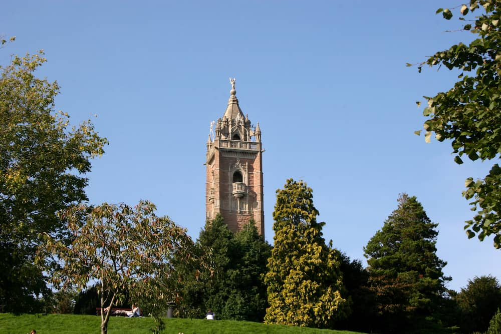 Cabot tower in park in Bristol England
