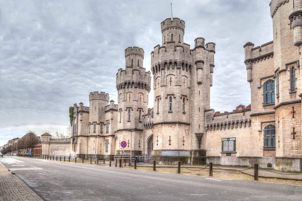 Main gate of historical Saint-Gilles prison in Brussels Belgium