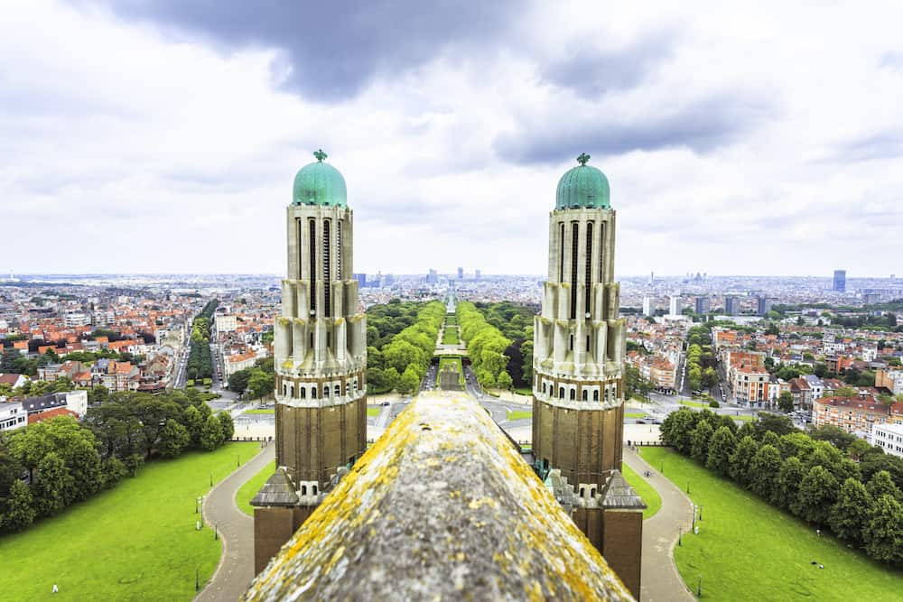 BRUSSELS BELGIUM - View from the rooftop of the Basilica of The Sacred Heart featuring the Elisabeth Park in the middle in a cloudy day. Brussels Belgium.