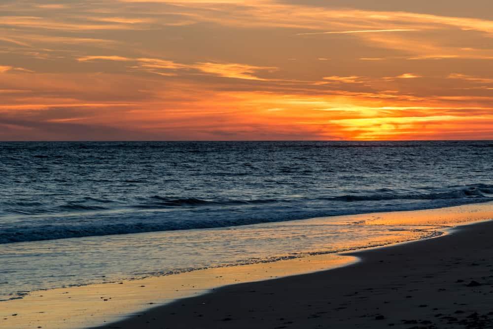 Fantastic sunset on the beach of Rota Cadiz Spain