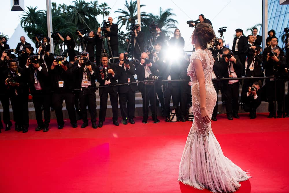 CANNES, FRANCE - : Madalina Ghenea attends the 'Youth' premiere. 68th annual Cannes Film Festival at the Palais des Festivals