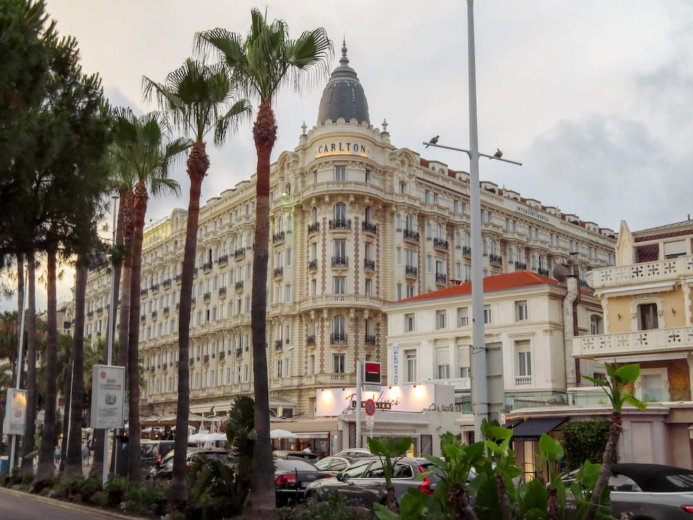 Cannes, France -View of the famous corner dome of the Carlton International Hotel located on the Croisette boulevard