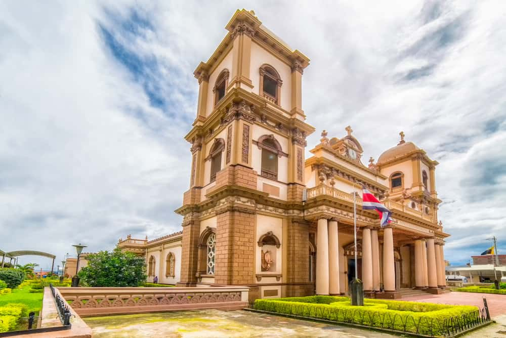 Catholic Church in Naranjo, Costa Rica during a cloudy day