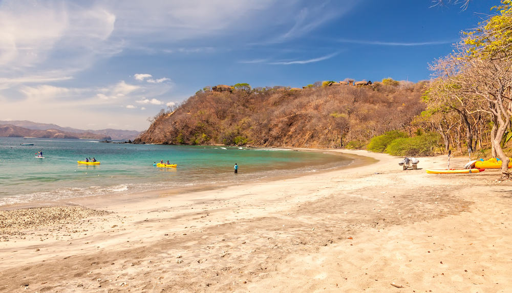 Guanacaste, Costa Rica - : Guests at a resort enjoy kayaking on the Gulf of Papagayo and enjoying the luxury beaches that Costa Rica region offers.