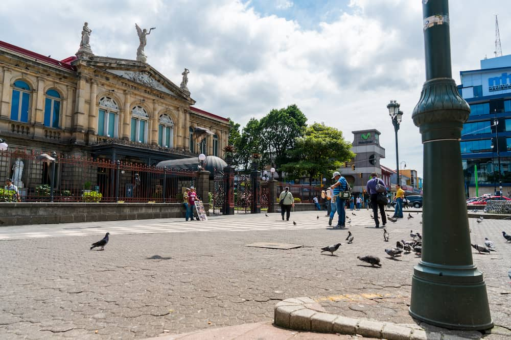 SAN JOSE COSTA RICA - Afternoon scene of the square in front of the famous National Theater of Costa Rica in San Jose in the night