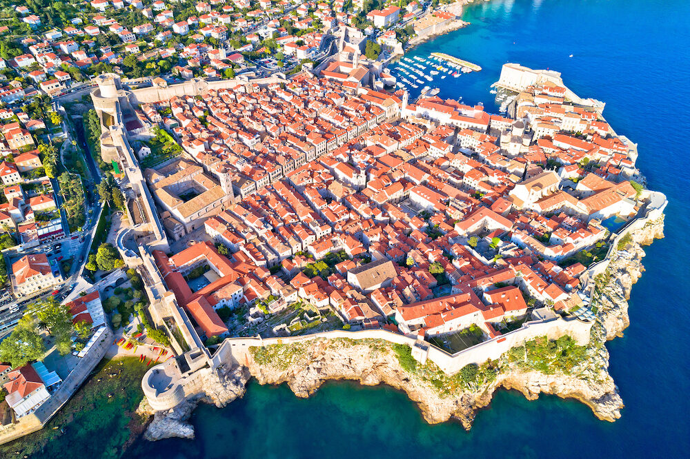 Town of Dubrovnik UNESCO world heritage site aerial view, Dalmatia region of Croatia