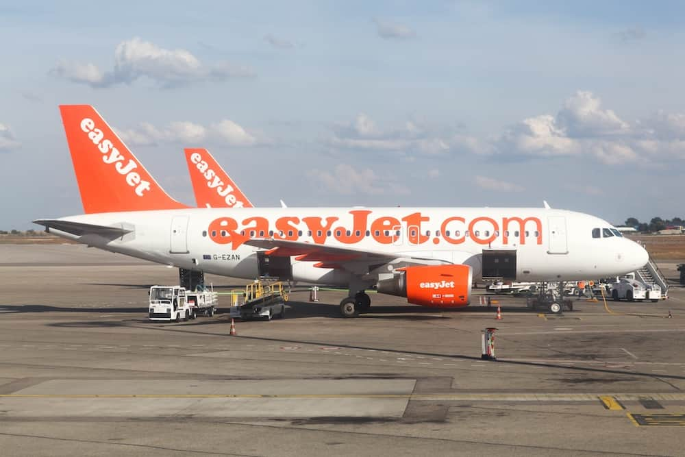 Lyon, France - Easyjet aircraft at Lyon airport. Easyjet is a British airline, operating under the low-cost carrier model, based at London Luton Airport