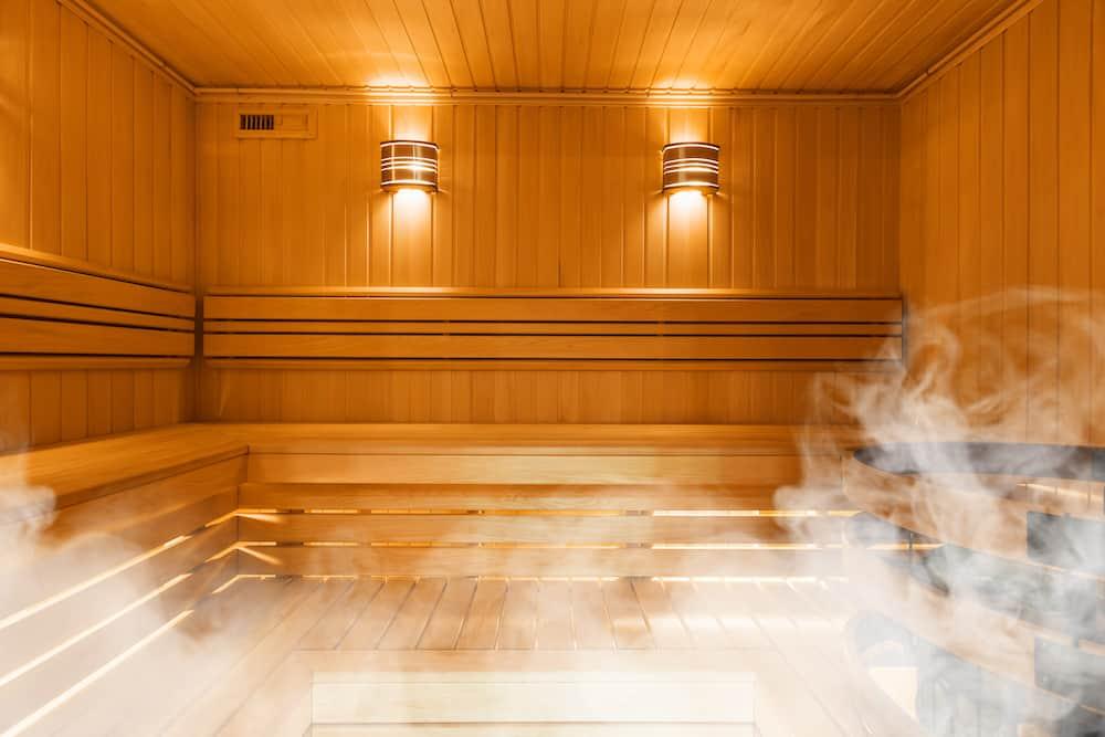 Interior of Finnish sauna, classic wooden sauna, Finnish bathroom