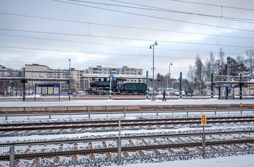 Kerava, Finland - : Winter, railway station in Kerava, Finland. Rails.