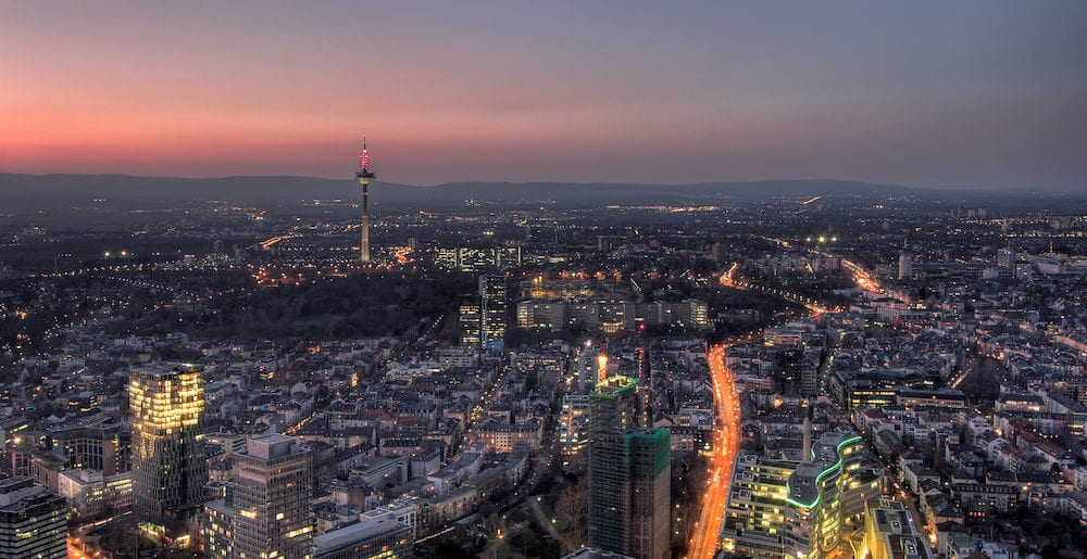 Frankfurt's Nordend district at dusk. Panorama. Germany
