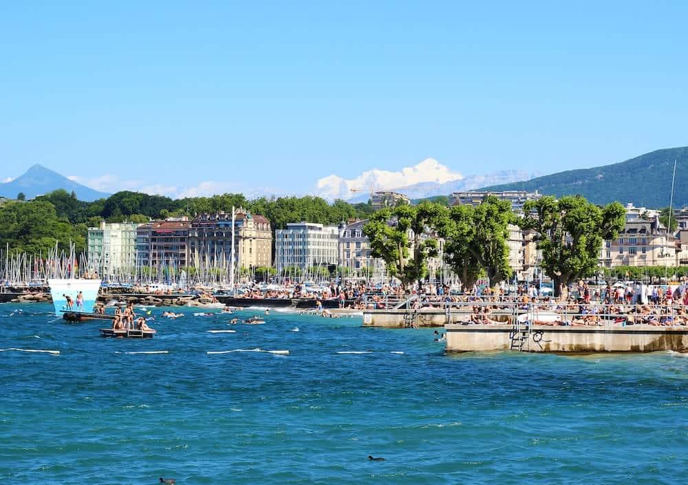 Bains des Paquis during summertime at the lake of Geneva, Geneva city