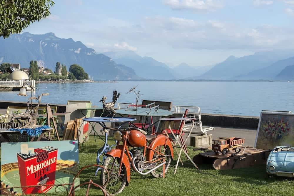 Montreux, Switzerland - flea market on the promenade of Lake Geneva in Montreux, Switzerland