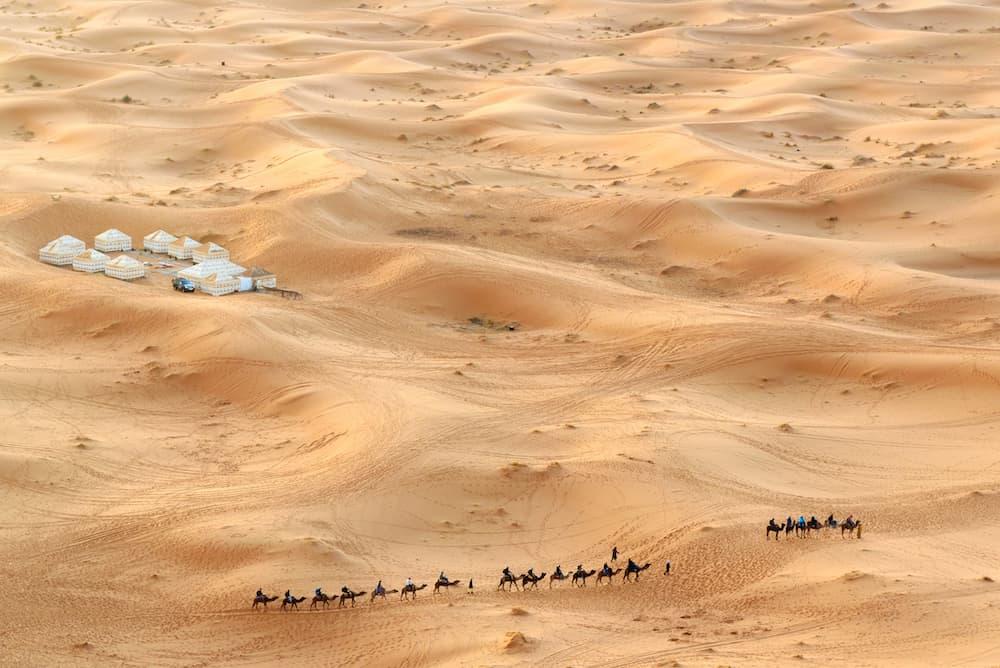 Caravan of Camels in Erg Chebbi Sand dunes in Sahara Desert near Merzouga Morocco